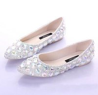 Wholesale new flat tip diamond toast the bride shoes shoes outdoor scene photography stage light mouth women s shoes
