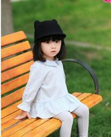Wholesale Kids Fedora Ears - 2016 Kids Hats for Children Cute Caps Girl Boys Spring Cat Ear woolen Hat Peaked Caps Kids 2-7Y enfants Chapeaux