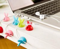 Wholesale New Arrive pack Rabbit Cable Drop Clip Desk Tidy Organiser Wire Cord Lead Holder