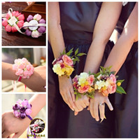 Wholesale Bridal Wrist Flowers Corsage Colorful Wedding Bouquet Flowers New Design Pearl Bridesmaids Wrist Flowers with Lace up on Back