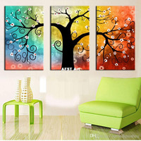 Wholesale 3 panel Canvas Painting Art Oil Tree Painting Colorful Big Tree Painting On Canvas Home Decor Wall Artwork Abstract Wall Art Picture Prints