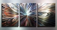 Wholesale oil painting art home decor lmpression painting original light and shadow painting lighting art metal sculpture wall