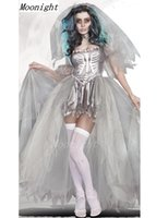 adult bride costumes - Ghost Bride Lace Dress Sexy Gothic Manor Zombie Wedding Corpse Costume Adult Costume Halloween