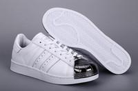 Wholesale bags2012 Originals Superstar Metal Toe Silver White Supercolor Unixes Men Women Skate Shoes Size drop shipping