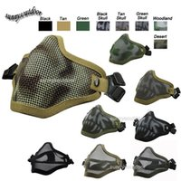 Wholesale Outdoor Airsoft Shooting Face Protection Gear Double Belt V1 Metal Steel Wire Mesh Half Face Tactical Airsoft Mask