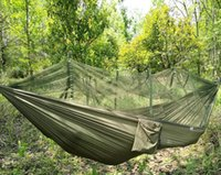 Wholesale In stock Strength Parachute Fabric Camping Hammock Hanging Bed With Mosquito Net Sleeping Hammock for Ourdoor Camping and Hiking