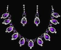 Wholesale New arrive Gorgeous hot sell purple diamond necklace and earrings Bridal Jewelry sets wedding jewelry Wedding accessories