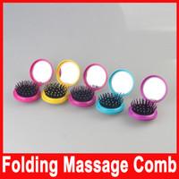 Airbag cepillo plegable portátil de masaje peine Mini Ronda de masaje plegable peine con el espejo de las nuevas muchachas del viaje del pelo