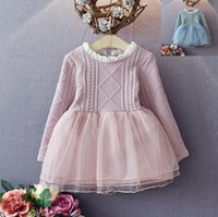 best sweater dresses - Best Quality Spring Fall Children sweater Dress girls korean style Pink blue colors long sleeve