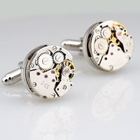 Wholesale High Quality Stainless Steel Mental Crystal Man Shirt Gear Watch Movement Mechanism Cuff Links with no Gift Box