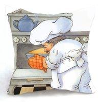 baker oven - 45CM Cushion Cover Pillow Case Throw Home Sofa Decorative Chef Baker Oven Cake