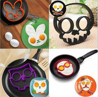 Wholesale 300pcs Cooked Fried egg Skull owl shaper silicone moulds egg ring silicone mold cooking tools christmas supplies Fried Egg Mold Pancake A027