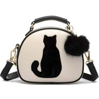 ball bag polyester - 2016 Cat Printing Bag Ladies Crossbody Bags Circle Women Leather Handbags with Fur Ball Women Messenger Bag