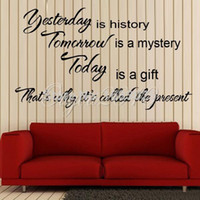 art history wallpaper - Art DIY Decor Yesterday Is History Art Quote Paper Removable Wall Sticker Decal Home Living Room Bedroom Wallpaper