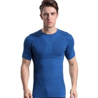 Wholesale Fashion Sports Running Slimming Body Men Shapers Solid T Shirts Belly Fatty Thermal Body Fitness Quick Drying Tights Colours