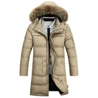 Wholesale 2017 New Fashion Winter Coat Men Warm Down Male Fur Hooded Long Thickening White Duck Down Jacket Outwear Casual Solid Parkas