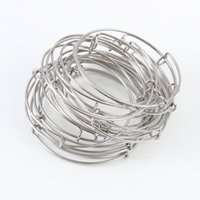 Wholesale 20pcs Stainless Steel Expandable Wire Bangles Adult Size cm cm Kids Size cm cm For Jewelry Making AAB088