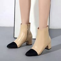 aa safety - zip mixed color genuine leather cap toe CM Chunky High Heel short boots designer luxury brand Women Shoes Sz
