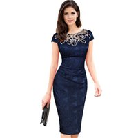 Wholesale 2016 new pictures office dress for ladies designer one piece dress lace patchwork draped party dress WD005