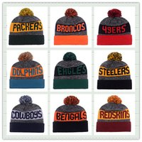 american skiing - Hot Sale Winter Hat American Football Team Pom Pom Beanies Heather Gray Sideline Sport Knit Hat Basketball Skullies Mix Order