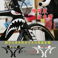 bicycle top tube cover - New Arrival Bicycles Decorative Shark Mouth Sticker Top Tube Head Fork Use Cool Stickers Decals Bike Frame Cover