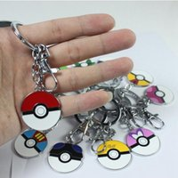 Wholesale keychains Styles Cartoon Pocket Pikachu Pokémon Action Figures Poke Ball Anime Keychain Keyring Pendant Halloween christmas gifts toys