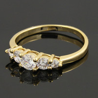 Wholesale New Arrival Hot Sale Fashion White Zircon Crystal Western Dubai Africa High K Gold Plated Wedding Rings For Women Engagement Party PP