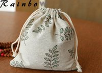 Wholesale party holder jewelry pouches cotton linen drawstring bags festival gift bags handmade linen cotton bags classical wedding favor holders