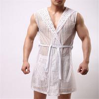 Wholesale Men Sleepwear Bath Wear Men Sexy Mesh Pajamas Long Mens Robe Include Shorts
