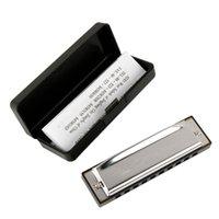 beginner harmonica - Silver High quality Swan Metal Holes C key Harmonica rosin Case box Hotsale Music learner beginner