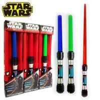 Wholesale Star Wars Anakin Darth Vader Stretch Lightsaber Toy for Boys LED toy laser sword Flash Sword Red Blue green Color Sound