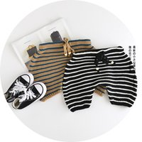 Wholesale Lace Drawstring Shorts - Baby shorts autumn winter new toddler kids stripe sweater shorts boys girls lace-up knitting sweater pants babies clothes black brown A9623