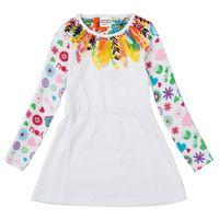 Wholesale 2016 Autumn Hot Sale Fashionable Girls Children White Long sleeved T shirt Beautiful Patterns cotton Five Kinds