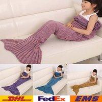 Wholesale Mermaid Blankets Kids Children Fishtail Knitted Blankets Air conditioning Sofa Blanket Girls Boys Sleeping Bag XMAS Gifts cm WX B04