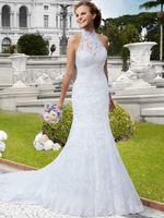 beauty wave red - Beauty Halter Neck Mermaid Wedding Dress Button Sweep Train Lace Appliques Economici Abiti Da Sposa Cina Hochzeitskleider