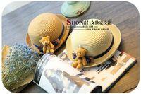 Wholesale NEW summer fashion sun Hats Caps Cloches Brim Grass Braid Stingy baby girl kid Straw Stingy Brim Hats