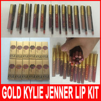 Wholesale New Gold set Kylie Jenner Cosmetics Matte Liquid Lipstick lip gloss Kit Lip Kit kylie birthday limited edition Cosmetics lipgloss colors