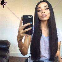 Pelucas peruanas largas del pelo humano del cordón recto largo para las mujeres negras Peluca peruana del pelo del cordón lleno de Glueless sin procesar