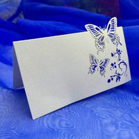 Wholesale 10Pcs Romantic White Carved Butterfly Table Mark Name Place Card for Wedding Birthday Banquet Decoration