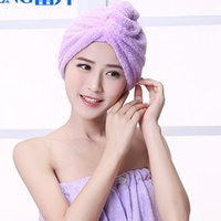 Wholesale Multicolor Women Cute Soft Coral Fleece Ultra Absorbent Shower Caps Bathing Hat Band Spa Hair Drying Dry Towel Wrap Hat