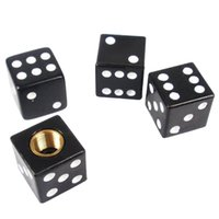 Universal Black 4pcs Dice voiture de camion bicyclette de pneu Air Valve Stem Caps roue jante F00006