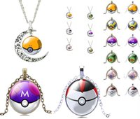 ball time - 2016 Hot glass cabochon necklace Poke Go Cartoon Fashion Peripheral Products Fashion Accessories Poke Ball Shape Time Gemstone Necklace