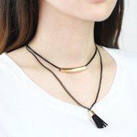 arrival black jewellery - 2016 New Arrival Multilayer Choker Necklaces Woman Black Leather Tassel Sequin Pendant Collar Necklace Jewellery CN023
