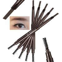 automatic drawing - 2016 D stereoscopic Double automatic rotation eyebrow pencil dual use waterproof and sweat with a brush drawing eyebrow makeup