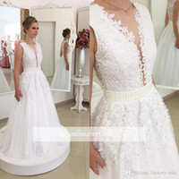 beach wedding designs - 2017 New Design Plunging Deep V Neck Lace Wedding Dresses Sexy Backless with Buttons Appliques Chiffon Long Bridal Gowns Pearls Fitted Sash