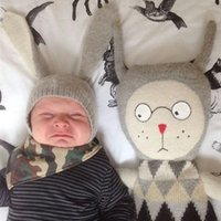 Wholesale The new han edition bunny ears baby hat boys and girls lovely baby knitting wool hat