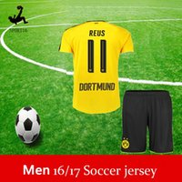 Wholesale DHL Top Quality REUS Jerseys New Dortmunder Football Trikot Home AUBAMEYANG REUS RAMOS Camisa Bumblebee football Shirt