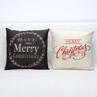 Wholesale Merry Christmas Letters Pillow Case Sofa Bed Home Decoration White Black Color Festival Cushion Cover Xmas Navidad Supplies