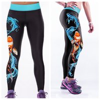 yoga - Fashion Elastic Capris Europe High Waist Long Trousers D Print Leggings Quick Drying Fitness Yoga Pants Body Sculpting Goldfish LNASlgs