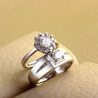 Wholesale Factory new arrival couple rings total sterling silver AAA zircon wedding rings ladies open rings Europe and American style